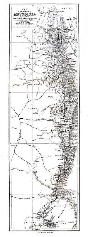 British Expedition to Abyssinia - The route of the British expedition through Abyssinia.