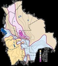 Mapa de la precipitación pluvial en Bolivia
