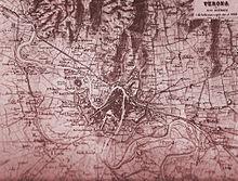 Mappa dei dintorni di Verona, nel 1866