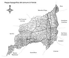 Mappa topografica di Rende