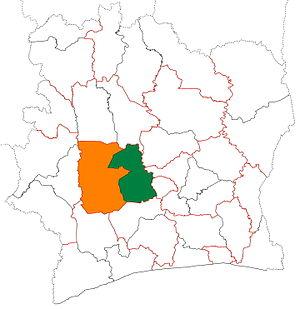 Marahoué - Image: Marahoué region locator map Côte d'Ivoire