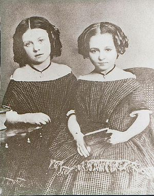 Margaret Wolfe Hungerford - The writer as a girl (right), with her sister.