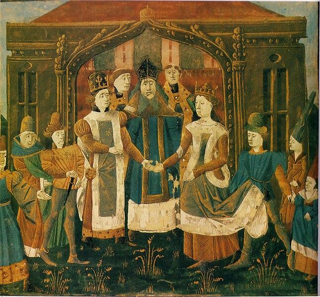 File:Mariage de Chilpéric Ier et Galsuinthe - Grandes Chroniques de France BNF Fr2610 f31v.jpg