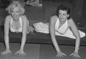 Marilyn Monroe performances and awards - Monroe (left) and Jane Russell at Garuman's Chinese Theater