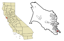 Marin County California Incorporated and Unincorporated areas Belvedere Highlighted.svg