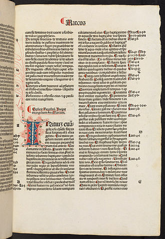 Gospel of Mark - Page from Mark in a Latin bible dated 1486 (Bodleian Library)