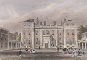Marlborough House - This view of the entrance front published in the 1850s before Pennethorne's additions shows an additional storey on the wings. The wings later gained a fourth main storey, and the central section gained a third.