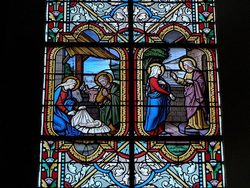 Église Saint-Pierre de Marpiré (35). Vitraux de la nef. Les 15 mystères du Rosaire. Maître verrier: Lecomte et Colin de Rennes. 1892-1893. Nativité/Visitation.