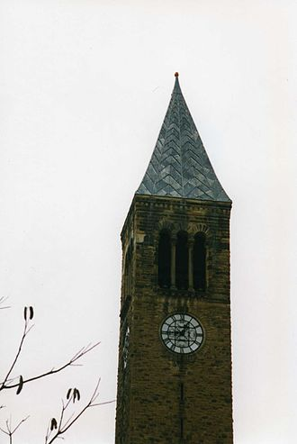 Cornell Chimes - The pumpkin atop the tower, as seen by a surprised alumnus, November 21, 1997.