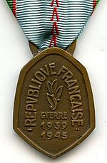 Medaille Commemorative 1939-45 France REVERS
