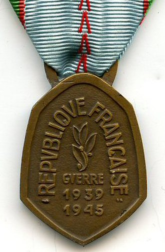 1939–1945 Commemorative war medal (France) - Reverse of the medal