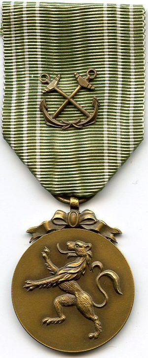 Maritime Medal 1940–1945 - Image: Medaille Maritime Belgique