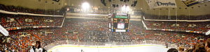 Civic Arena (Pittsburgh) - Panoramic view of the Civic Arena from D-Level in October 2007.  The balconies on either end of this photo were not part of the original structure.  The lower E-level balcony was added in 1975 and the upper F-level balcony was added in 1993 season to extend seating capacity.
