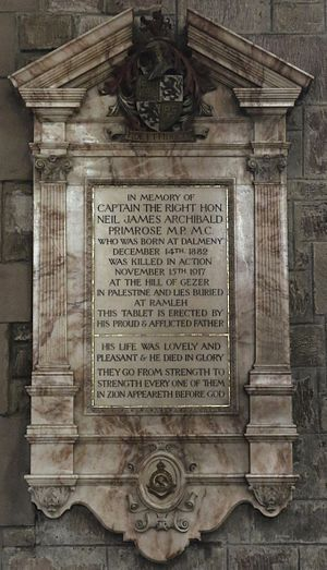 Neil Primrose (politician) - Memorial in St Giles' Cathedral, Edinburgh