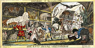 William Henry Brooke - The anti-royal menagerie, from The Satirist, 1812. Print from the collection of the British Museum.