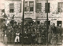 First officially recognized Albanian school for boys, Korçë, 1899. Director Nuçi Naçi, teachers Thanas Nona and Kristo Vodica, and students