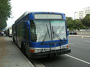 A Metro Express bus on Line 577x (San Gabriel River Frwy.) at CSULB in Long Beach
