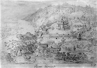 Mezhyhirya Monastery - The Mezhyhirya Monastery as drawn by Abraham van Westerveld during the 1650s.