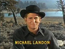 1f569e702f5 Michael Landon as  Little Joe  Cartwright  this shot was taken before the  wardrobe was standardized for continuity purposes. Landon is seen in black  attire ...