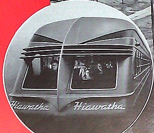 Beaver Tail (railcar) - An advertisement depicts a third-generation Beaver Tail car on the rear of the Midwest Hiawatha in the 1940s.