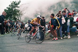 1994 Tour de France - Miguel Indurain, wearing the yellow jersey as leader of the general classification, on stage 16's ascent to the finish at Alpe d'Huez