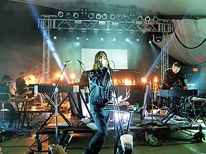 Christian Karlsson (DJ) - Karlsson (far right) performing with Miike Snow at SXSW