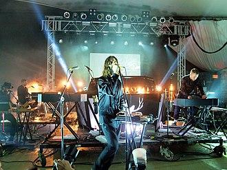 Christian Karlsson (DJ) - Karlsson (far right) performing with Miike Snow at SXSW