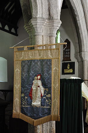 Banner-making - St Materiana depicted on the church banner at Minster, Cornwall