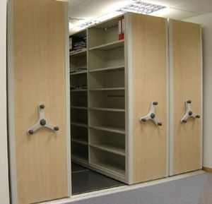 Mobile shelving - Small mobile aisle shelving / roller racking system