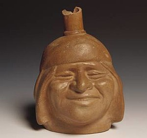 Huaco (pottery) - Moche Portrait pot. This fine pot appears to represent a good-humored Moche man.