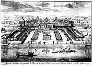 Monbijou Palace - Copper engraving of Monbijou palace by Johann Christoph Böcklin, 1703
