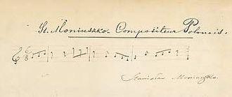 Stanisław Moniuszko - Autographed music quotation