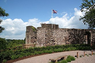Monmouth - Monmouth Castle, part of which remains in use as a regimental headquarters and museum
