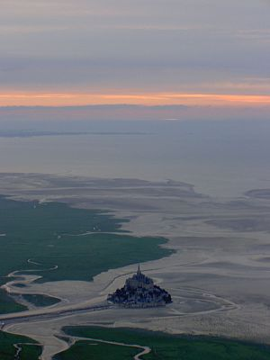Aerial view of Le Mont St. Michel