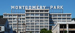 Montgomery Park (Portland, Oregon) - Only two letters of the large rooftop neon sign had to be altered when the building was renamed from Montgomery Ward to Montgomery Park.