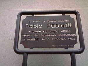 Seveso disaster - Image: Monza Paolo Paoletti targa 1980