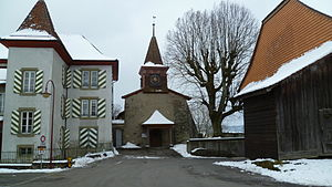 Morrens - Image: Morrens church and Davel house