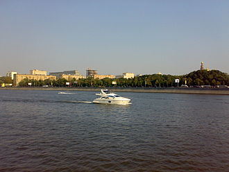 Moskva River - Boats on the Moskva River near the Luzhniki area of Moscow, with Novodevichy Convent at right