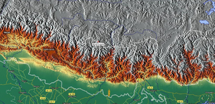 Mount Everest relief map