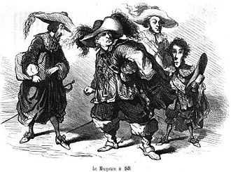 First cabinet of Odilon Barrot - The ministers as Dumas's musketeers by Cham. Left to right Falloux as Aramis, Barrot as Athos, Buffet as Porthos and Faucher as d'Artagnan