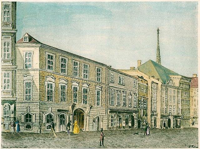 Последний дом Моцарта по адресу Рауэнштайнгассе 970 (жёлтое здание слева на переднем плане), где он умер 5 декабря 1791 года. Здание разрушено в середине XIX века. Акварель, ок. 1840г.