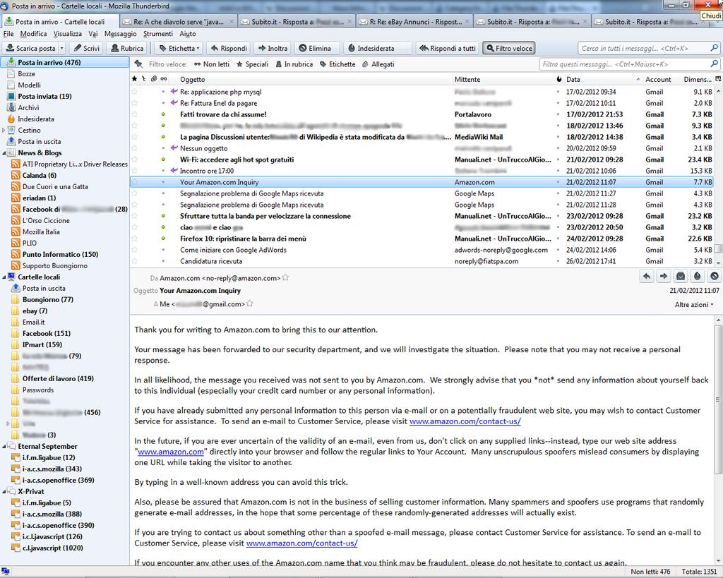 Mozilla Thunderbird 11.0 su Windows 7