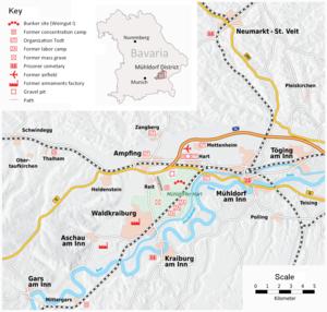 "Weingut I - Location of Weingut I (""Bunkergelände"") and the former camp system"