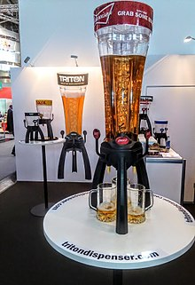 Beer tower with 3 taps which allows everyone around the table to pour their own beer simultaneously