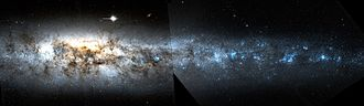 NGC 4631 - NGC 4631 mosaic of two HST images; 7.2′x2′ view. Credit: NASA/STScI/WikiSky