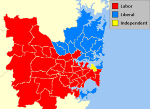 Electorates of the Australian states and territories - Results of the New South Wales state election, 2007 showing the districts in Sydney