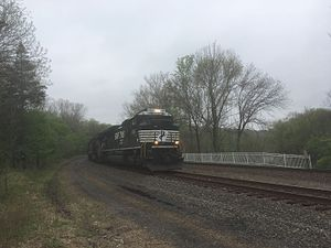 Harrisburg Line - Eastbound Norfolk Southern merchandise train on the Harrisburg Line in Valley Forge, Pennsylvania