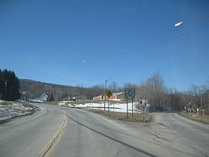 New York State Route 21 - Northbound at the fork between NY 21 and NY 64 in South Bristol