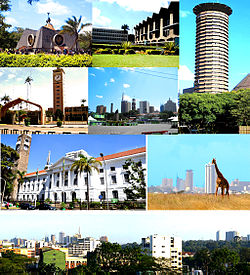 Clockwise: Nyayo Monument, University of Nairobi, Kenyatta International Conference Centre, Nairobi National Park with the city's skyline in the background, Panorama, Nairobi City Hall, Parliament of Kenya and Nairobi City Square.