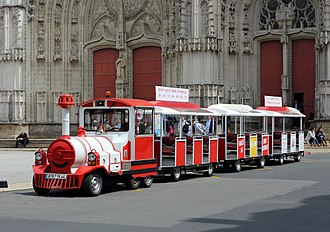 Trackless train - Touristic road train in Nantes, France